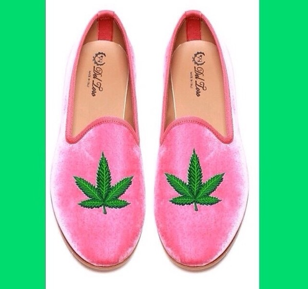 shoes pink pot leaf marijuana green slip on shoes