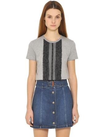 t-shirt shirt lace cotton black grey top
