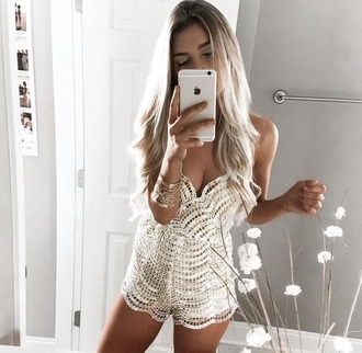 romper girl girly girly wishlist cute style tumblr white white lace romper instagram sequins