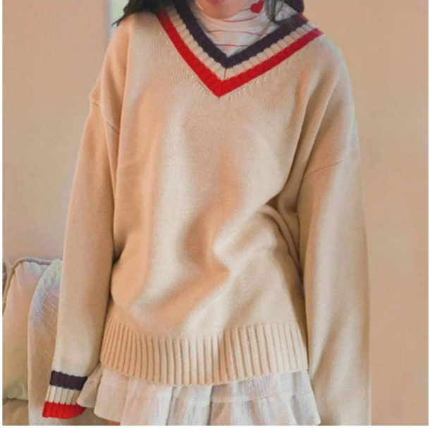sweater jumper girly sweatshirt tumblr v neck off-white sweater off-white red black