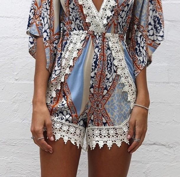 romper girl color/pattern white jumpsuit patterned dress dress shorts pattern colorful