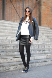 fashion vibe,sweater,dress,leather skirt,fall outfits,leather jacket,white sweater,quilted bag,leather pouch,black leather