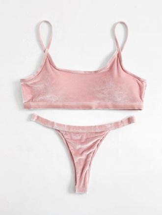 swimwear girly pink velvet two-piece bikini bikini top bikini bottoms