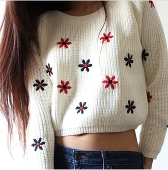 sweater knitwear cropped sweater top flowers floral white white sweater cute winter outfits winter sweater