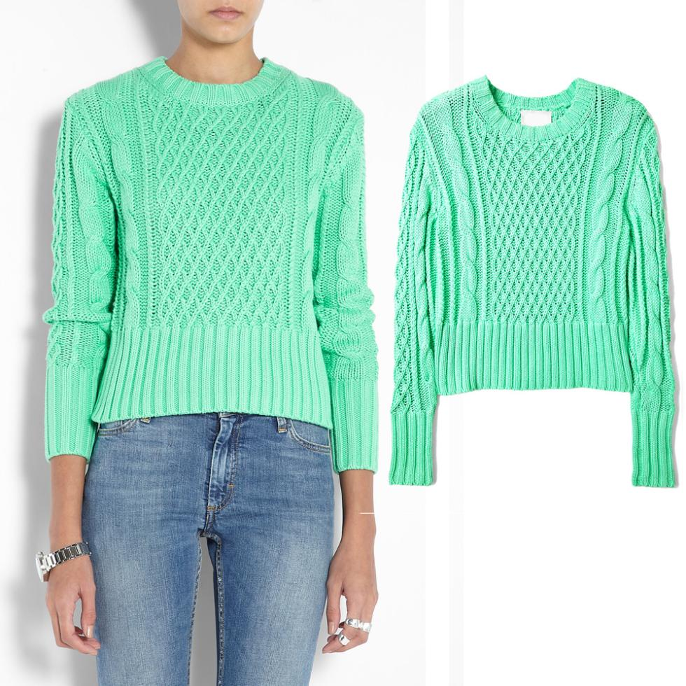 Pullovers Mint Green Sweater Acne Women Men Lovers Clothing Fashion Knit Jumper Designer Brand High Street Crew Neck-in Pullovers from Apparel & Accessories on Aliexpress.com