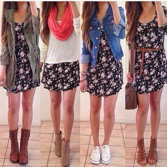 dress shoes flowers diy design style cute jeans denim scarf michael kors bag floral dress black