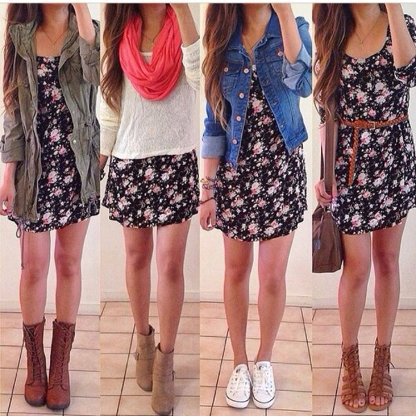 dress shoes flowers diy design style cute jeans denim scarf michael kors bag floral dress black flowers