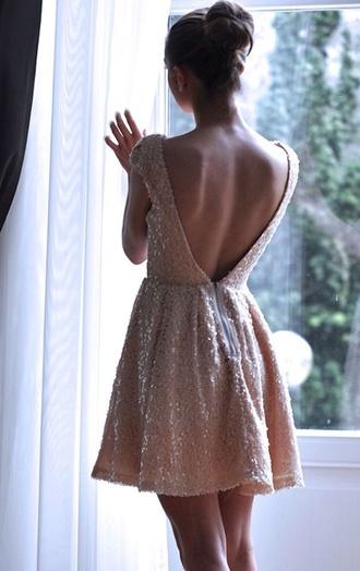 dress white sequins short dress prom dress cute dress white dress gold sequins white short dress