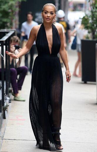jumpsuit black plunge v neck rita ora wide-leg pants pants top palazzo jumpsuit backless jumpsuit