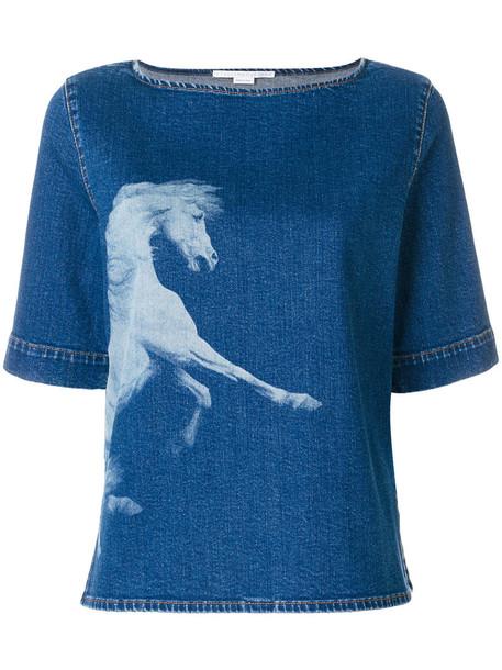 Stella McCartney top denim top denim horse women spandex cotton blue