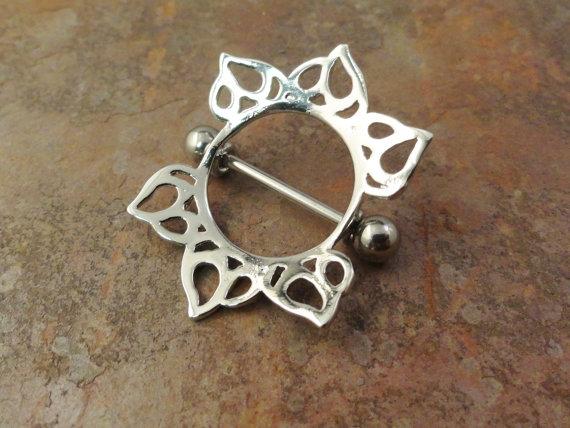 Tribal Sun Nipple Shield Jewelry Barbell 316L by MidnightsMojo