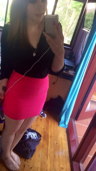 skirt bright pink black shirt pantyhose
