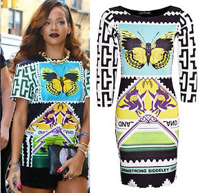 Ladies Rihanna Celeb Inspired Women MIDI Bodycon Tunic Butterfly Print Dress Top | eBay