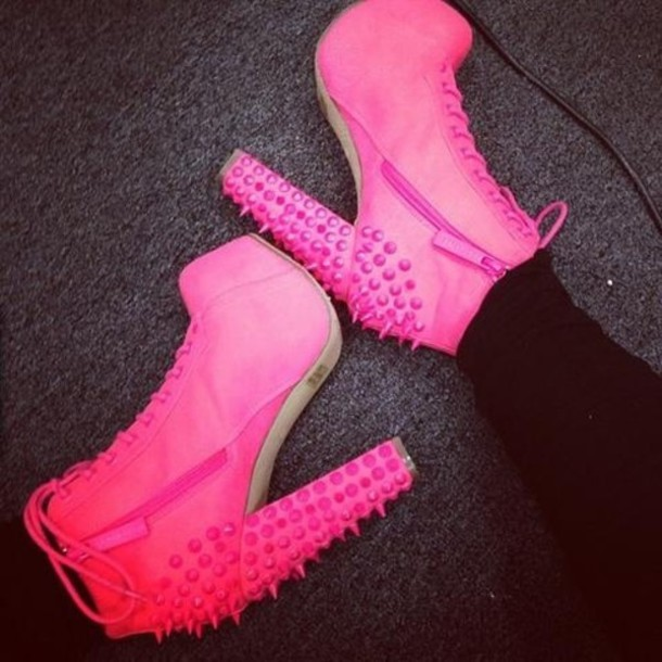shoes pink thick heel spikes barbie spiked zip lace