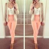 pants,bustier,top,bag,blouse,love,fashion blogger,blogger,jacket,shoes,peach high wasted cute legs,sweater,shirt,cream,jeans,pink,tank top,jewels,pink jeans,high waisted jeans,bright,orange jeans,corset top,brown bag,necklace,white bustier,white lace,high waisted,coral,coral pants,high waisted jeggings,coral jeggings,high waisted pants,brown oxfords,brown shoes,oxfords,tumblr,knitted cardigan,hight waisted,t-shirt,white,sleeveless,peach jeans,tan,beige cardigan,white crop tops,gold,high waisted trousers,cardigan,lace up heels,coat,summer,white top,maybe bodysuit,oatmeal,oatmeal cardigan,outfit,purse,half shirt,crop tops,pink #peach #spring,leggings,jeggings,skinnies,light pink,disco pants,peach,pretty,cute,lovely,idk,one direction,girly,❤️,pink pants,baby pink,skinny pants,phone cover,neon,orange,mhmm,high waited pants,girl,coral jeans,nude high heels,cute shoes,cute sweater,denim,high,salmon pink jeans,edgy,structured,this color.,hipster,color light melon