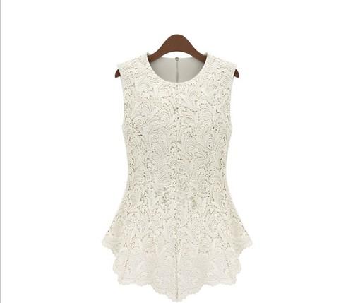 Europe Fashion Delicacy Hollow Lace Crochet Waist Slim Top Blouse Shirt S M L XL | Amazing Shoes UK