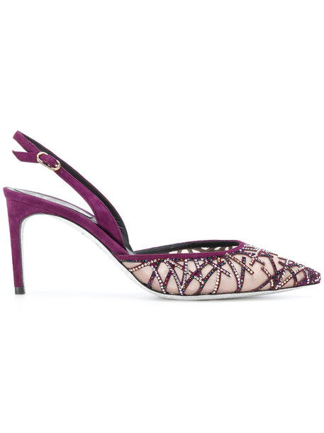women embellished pumps leather purple pink shoes