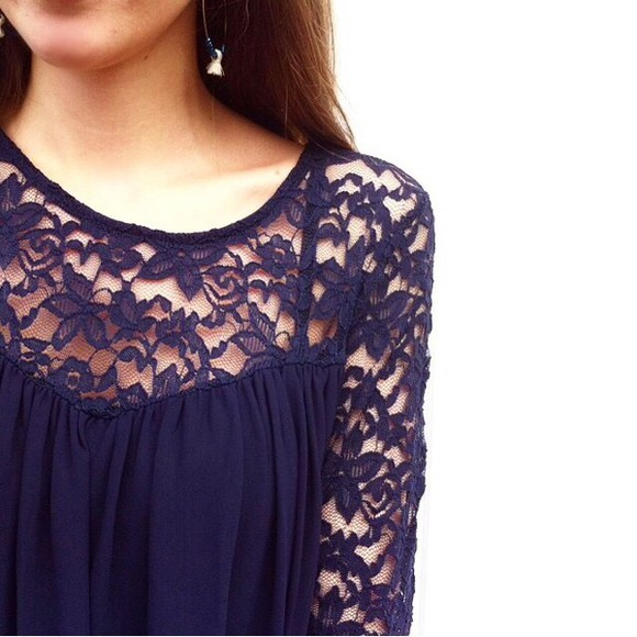 blouse blue blouse top blue marine dentelle tank top lace lace top jewels earrings