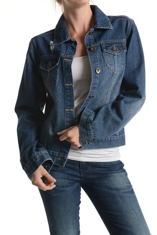 American Bazi Women's Denim Jacket RBJ101 - M.INDIGO at Amazon Women's Coats Shop