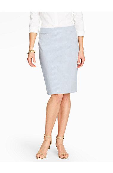 Seersucker Pencil Skirt - Talbots