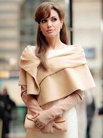 dress angelina jolie beige dress gloves beige jewelry bag earrings pearl jewels jacket cardigan
