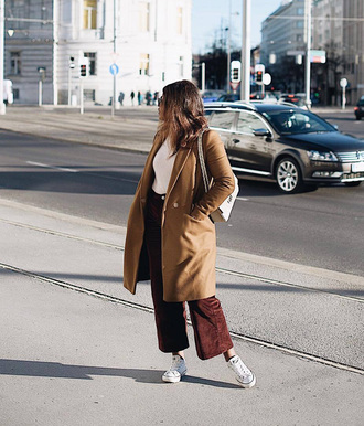 coat tumblr camel camel coat top pants cropped pants brown pants corduroy sneakers white sneakers