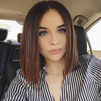 shirt acacia brinley stripes black and white blue brown matte lipstick eyebrows hair