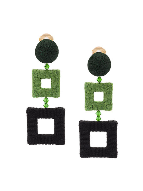 oscar de la renta women earrings silk green jewels