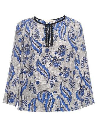 blouse print silk blue top