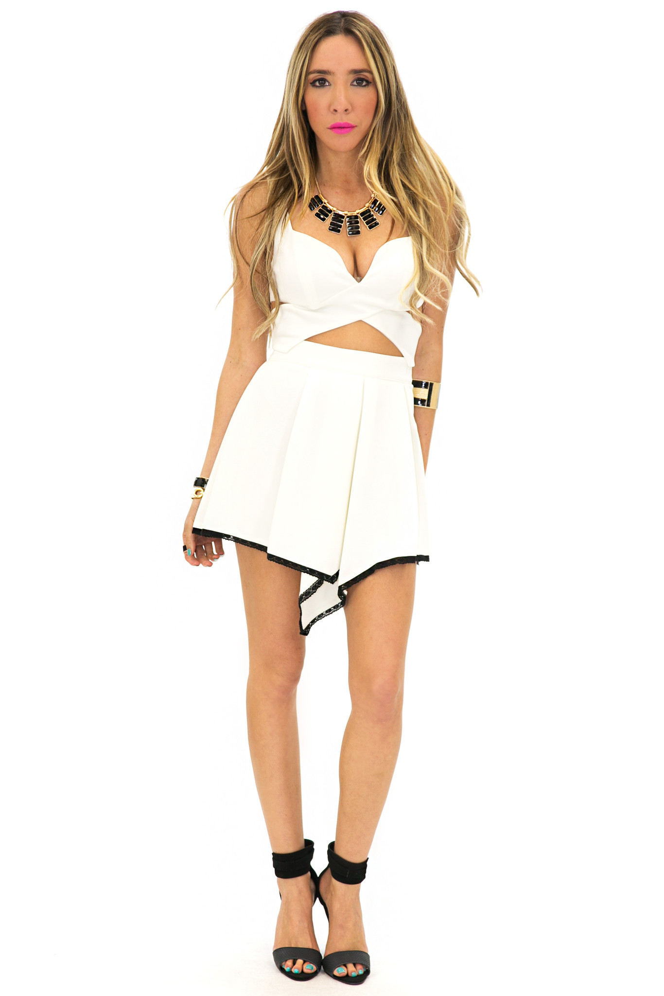 FRONT POINT ZIP SKIRT - Off White | Haute & Rebellious