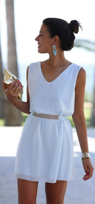 dress jewels earrings blue summer dress summer outfits light blue white dress white