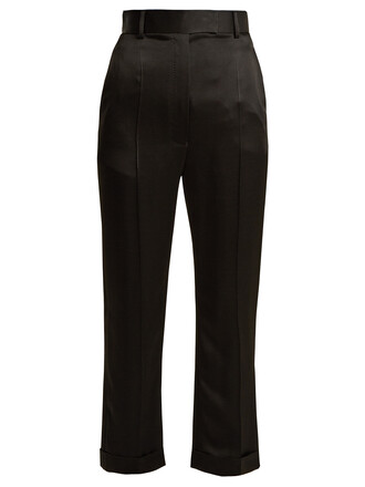 high satin black pants