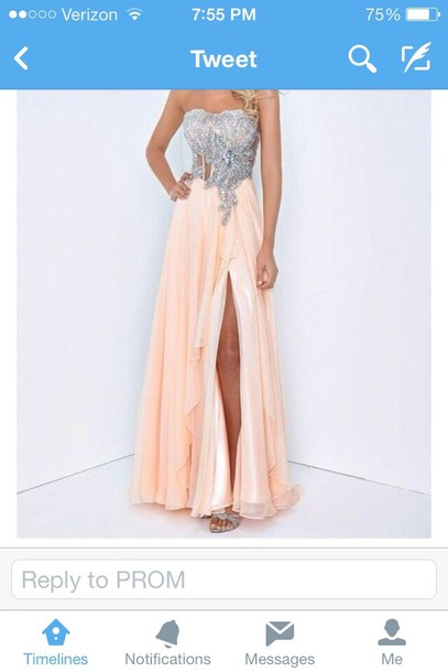 dress peach long rhinestone top