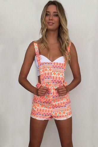shorts overalls aztec ustrendy neon neon orange