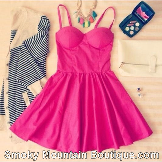 Sexy fushia pink retro bustier dress with adjustable straps