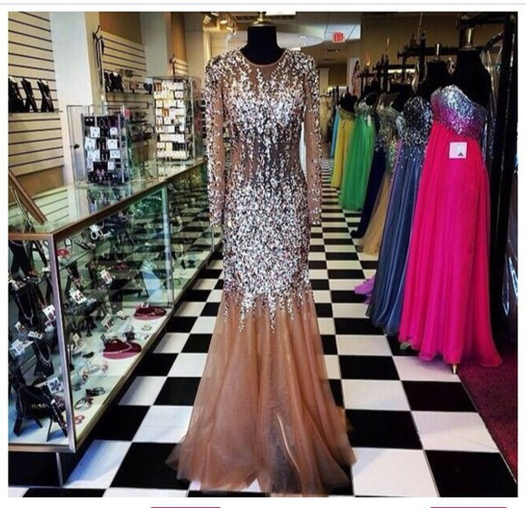 nude dress nude dress with crystals prom dress
