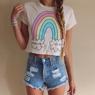 t-shirt rainbow cute shirt crop tops pink shirts white t-shirt quote on it