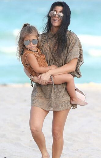 dress lace dress kourtney kardashian sunglasses summer dress summer outfits kardashians beach