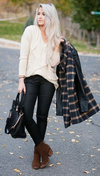 sweater white sweater black jeans checkered black coat brown boots blogger black bag