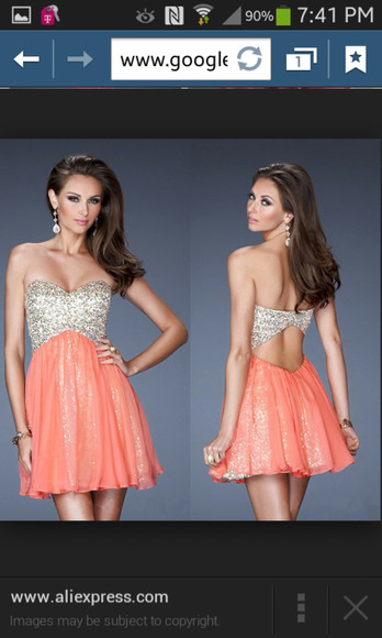 coral dress pink dress homecoming dress prom dress
