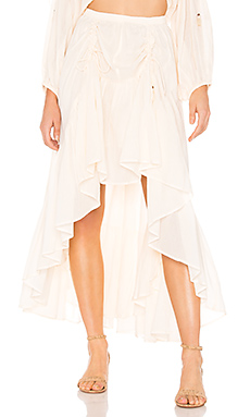 Spell & The Gypsy Collective Seashell Organic Ruched Skirt in Ivory from Revolve.com