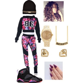 pants joggers outfit roses hoodie romper sweater jewels nail polish hat jeans
