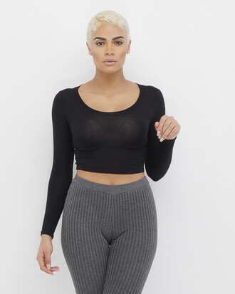 top crop tops black black crop top long sleeves long sleeve crop top