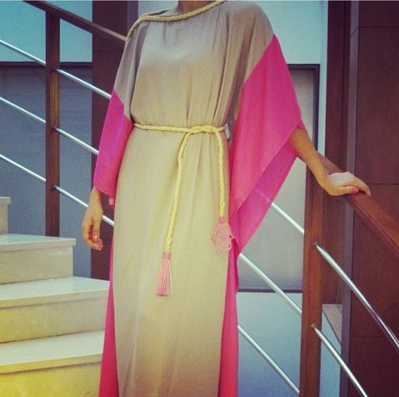 dress abaya kaftan pink grey summer outfits