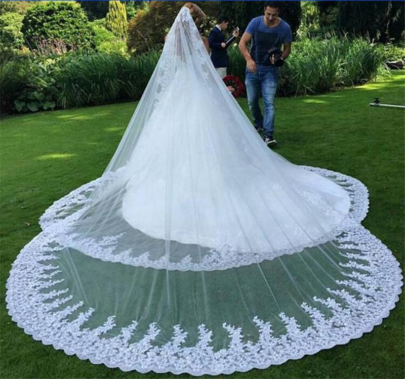 Charming Chapel Train Arabic Muslim Long Wedding Veils 2016 Vintage Lace Appliques Edge One Layer White Ivory