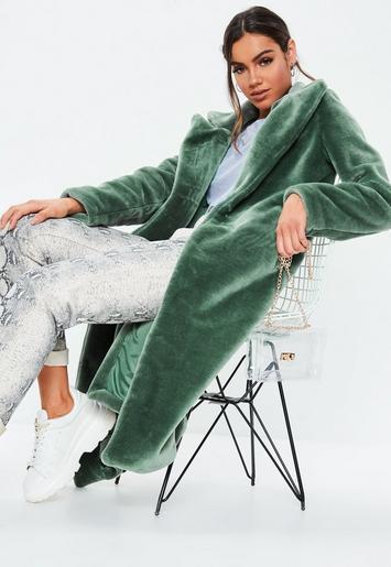 Missguided - Mint Faux Fur Long Coat