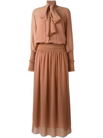 dress maxi dress bow maxi brown
