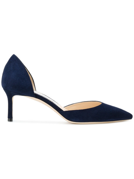 Jimmy Choo women pumps leather blue suede shoes