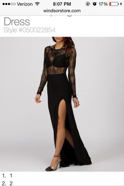 dress black long lace