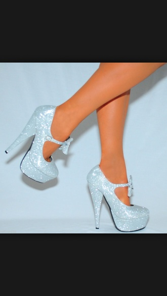 shoes sliver wedges with bow silver glitter bow heels sparkle